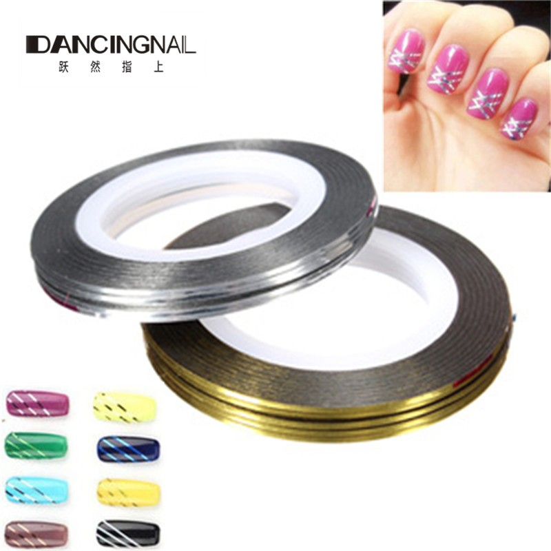 Pro 10pcs Rolls Nail Art UV Gel Tips Striping Tape Line Stickers DIY Tools Manicure Accessories Gold Silver To Choose(China (Mainland))