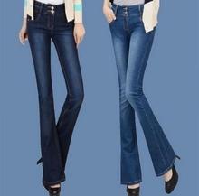 Plus Size Women Bell Bottoms Jeans New 2016 Women Flare Pants high waist Wide Leg Denim Trousers Women T611