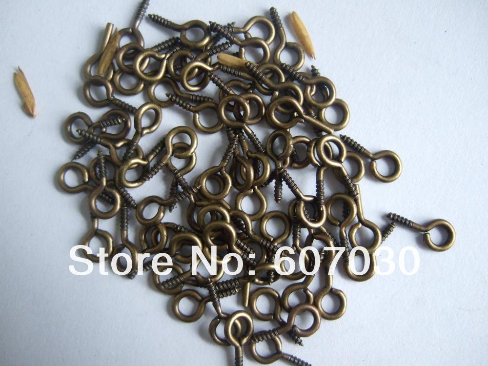 Wholesale 200pcs Bronze Tone Brass Screw Eye Hooks Connectors/Bails 10mm x 5mm(China (Mainland))