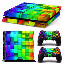 2016 New Arrived Stylish Colorful Lattice Vinyl Skin Cover For Sony/PS4 For Playstation 4 Console 2 Controllers Sticker Decal