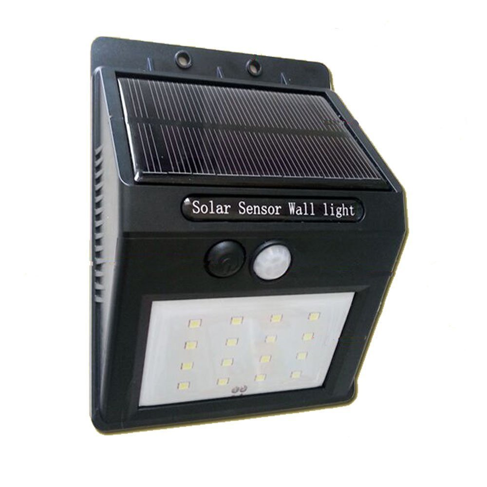 16 led rechargeable solar power panel wall lamp pir motion
