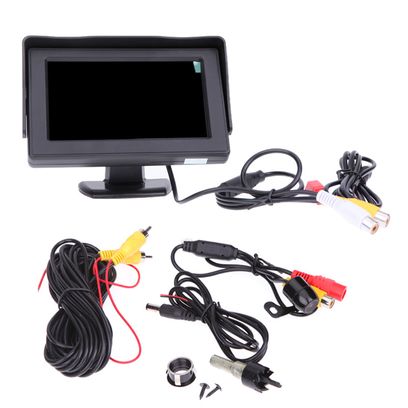 4.3 TFT LCD HD Monitor Car Rear View Mirror Monitor DC 12V Kit 170 Wide Angle Mini CMOS Camera 2 Way Input<br><br>Aliexpress