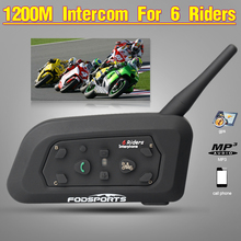Fodsports Brand!2016 New !1 pcs V6 BT multi Interphone Wireless Motorcycle Helmet Bluetooth Intercom Headset for 6 Riders1200M
