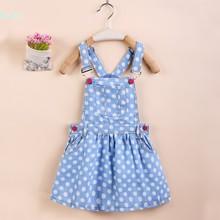 Brand New Kids Denim Dress 2016 Summer Style Baby girls Sundress Sleeveless Adjustable Girls Princess Dresses