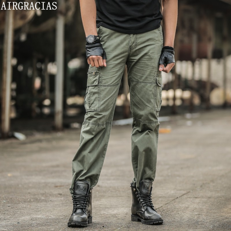 AIRGRACIAS Men's Cargo Pants Casual Mens Pant Multi Pocket Military Overall Men High Quality Army Long Trousers Pantalon Homme