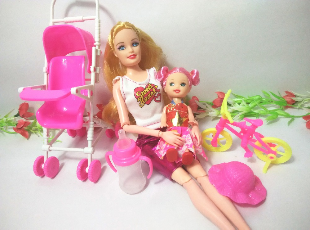 2016 Hot Sale dollhouse furniture children play house sets For Barbie doll Baby Stroller Trolley Nursery Furniture Toys Kelly(China (Mainland))