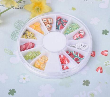 12 Colors 3D Mixed Clay Fruit Designs Nail Art Tips Wheel Decoration Free Shipping(China (Mainland))