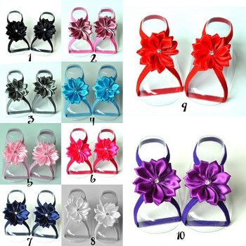 240pair/lot Barefoot Baby Sandals with thin Elastic, Girl Baby Shoes, Baby Accessories QueenBaby