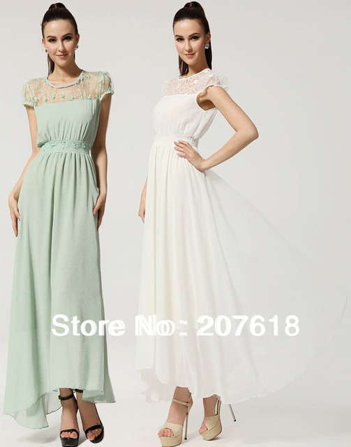 Women Short Sleeve Slim Chiffon Dress Plus Size Lace Evening Beach Party Dress BOHO Maxi Dresses