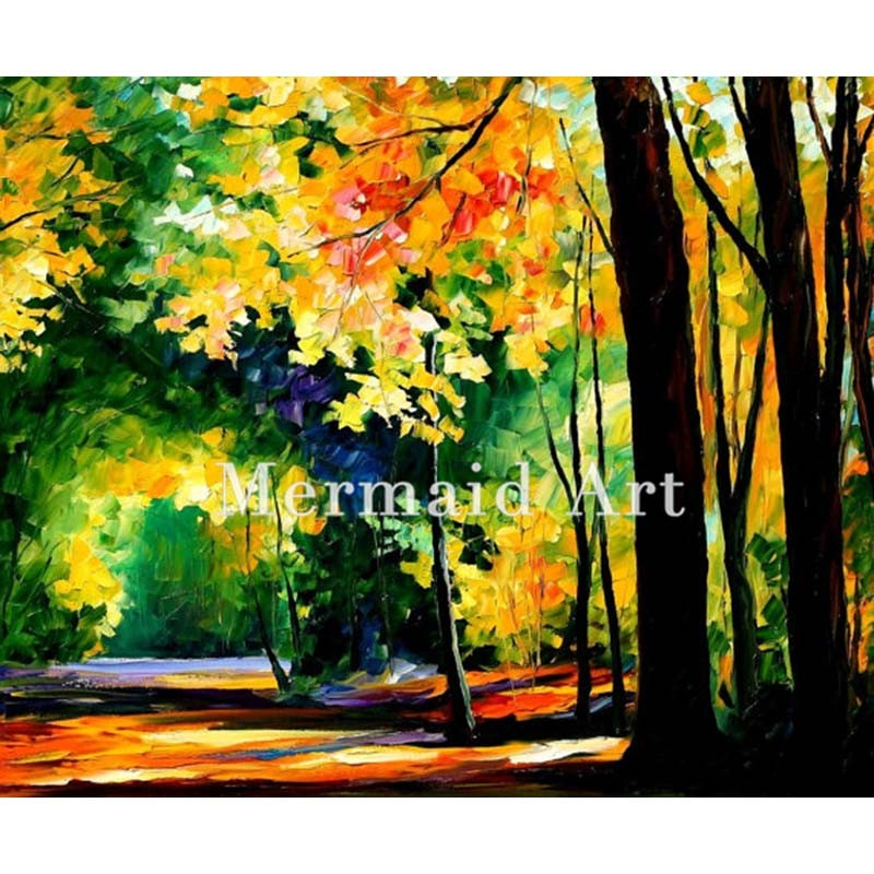 Buy Hand Painted North Radiance Floral Landscape Abstract Palette Knife Modern Oil Painting Canvas Wall Living Room Artwork Fine Art cheap
