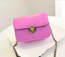 Small PU chain bag woman messenger bag candy fashion girl sweet bag