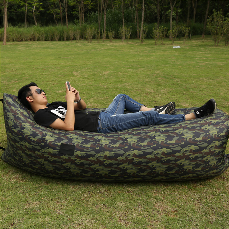 Fast Inflatable Laybag Hangout Lounger Air Camping Sofa Portable Beach Bed Air Pumped Sleeping Bag Nylon Fabric Lazy Bag Chair(China (Mainland))