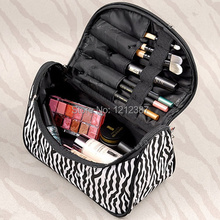 Zebra-stripe Makeup Bag Patent Leather Waterproof Cosmetic Pouch Travel Handbag Casual Purse For Ladies HB88(China (Mainland))