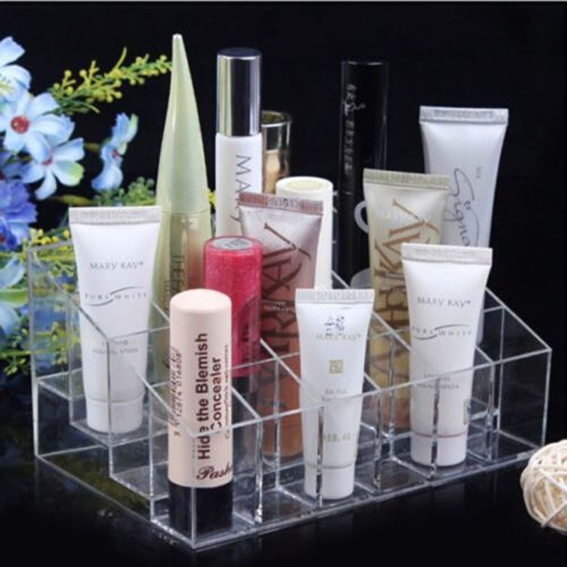 24Cases/Set Clear Trapezoid Makeup Display Lipstick Stand Case Cosmetic Organizer Holder T1332 P50(China (Mainland))