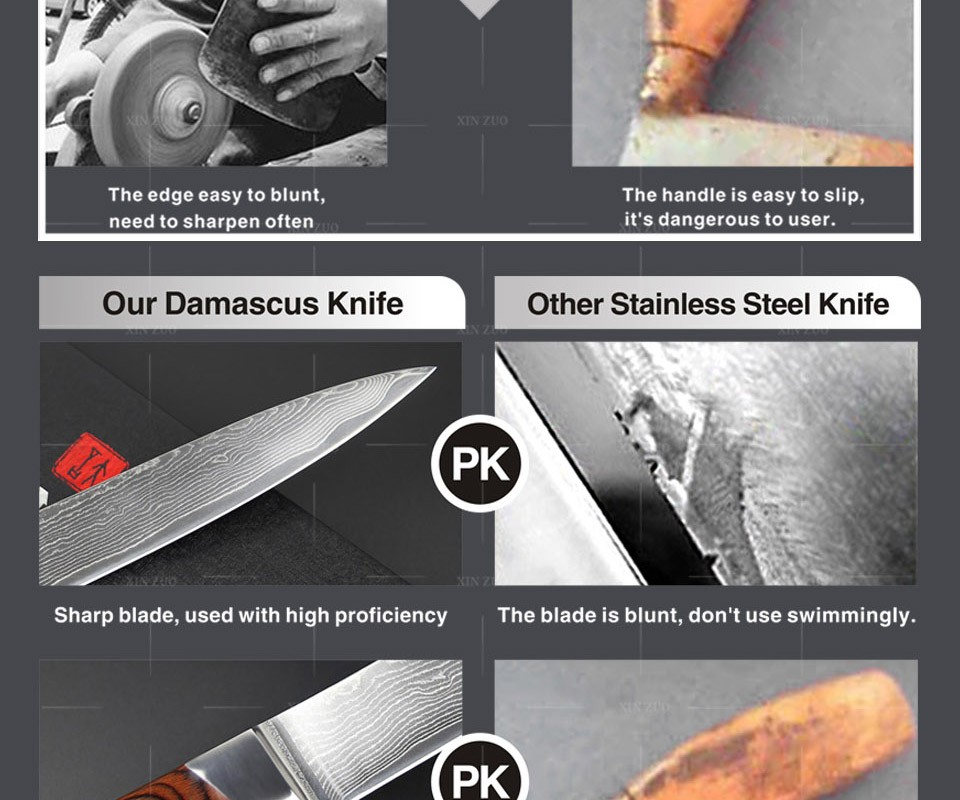 "Buy 2016 NEW VG10Damascus steel 8"" kitchenknives sashimi knife cleaver knives slicing knife with forged Micarta handle FREE SHIPPING cheap"