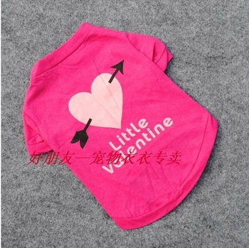 Free shipping An arrow through the heart dog clothes pet product %100 cotton rose red pet dog clothes T-shirt dog clothing vest