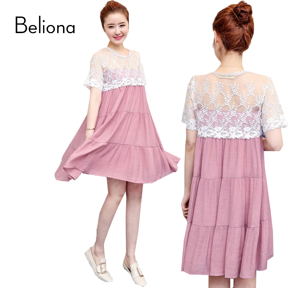 Online get cheap maternity lace and chiffon dress aliexpress fashion lace stitching chiffon maternity dress for pregnant women 2017 summer pregnancy clothes casual clothing ombrellifo Image collections