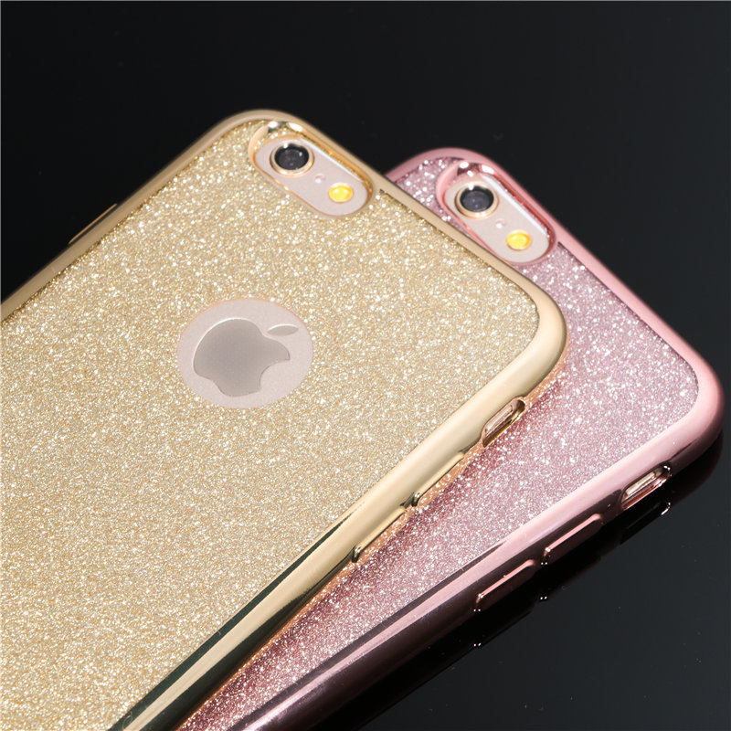 Electroplating Crystal Candy Colors Phone Cases for iPhone 5 5S SE 6 6s 6plus 6s Plus 7 7Plus Soft TPU Clear Glitter Back Cover(China (Mainland))