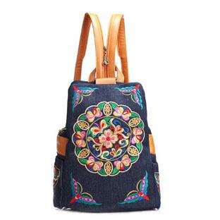 2015 New fashion embroidery backpacks women canvas backpack ethnic style handmade bag YA80-1(China (Mainland))