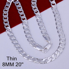 Buy 8MM 16-24inch Links chain men necklace fashion silver men's jewelry, 925 sterling silver chain necklace men free for $3.75 in AliExpress store