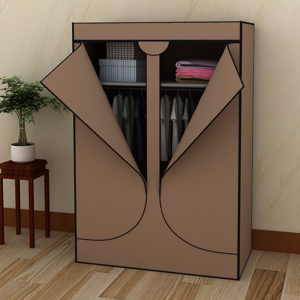 1set Self-assembly Brown Double Door Wardrobe Closet Clothes Rack Storage Organizers