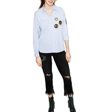 Buy Women badge patch loose blouses turn-down collar long sleeve shirts hem split female casual office wear tops blusas LT1090 for $11.19 in AliExpress store