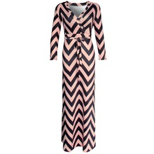 Buy Brand New 2016 Autumn New Women Maxi dresses vestidos Sexy V-neck striped dress three quarter sleeve long Nightclub dress 922 DX for $12.02 in AliExpress store
