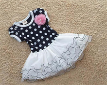 2015 New Spring Autumn Baby Girls Dress Clothes Children cute Dot short sleeve 2 colors Dot dresses tutu dress free shipping(China (Mainland))