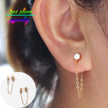 2015 New Hot Selling Simple Brief Style18k Gold Cubic Zirconia Studs Back Earrings Stud Earrings For Women Bijoux(China (Mainland))