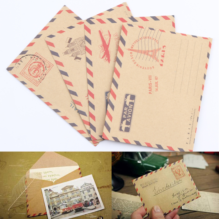 10 Sheets Mini Envelope Postcard Letter Stationary Storage Paper AirMail Vintage Office Supplies Drop Shipping OSS-0093(China (Mainland))