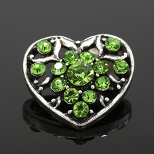 Metal Snaps Rhinestone Green pink Heart Ginger Snap Jewelry 20mm Button Fit Charm Bracelet 2016 NZ063 - DIY & Accessories Store store