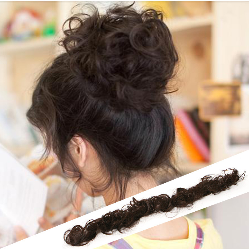 Hot Sale 2015 New Fashion Women Ladies Curly Synthetic Hair Chignon Hair Bun Hair Extend 2 Colors Available # L04079(China (Mainland))