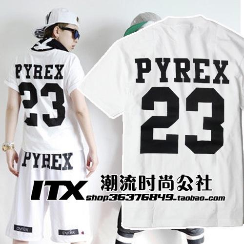 West coast pyrex men's personalized short-sleeve T-shirt male t shirt hip-hop bboy - Fashion beauty19900820 store