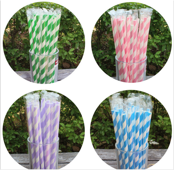 Independent packing chromatic stripe straw green paper straw Party Supplies(China (Mainland))