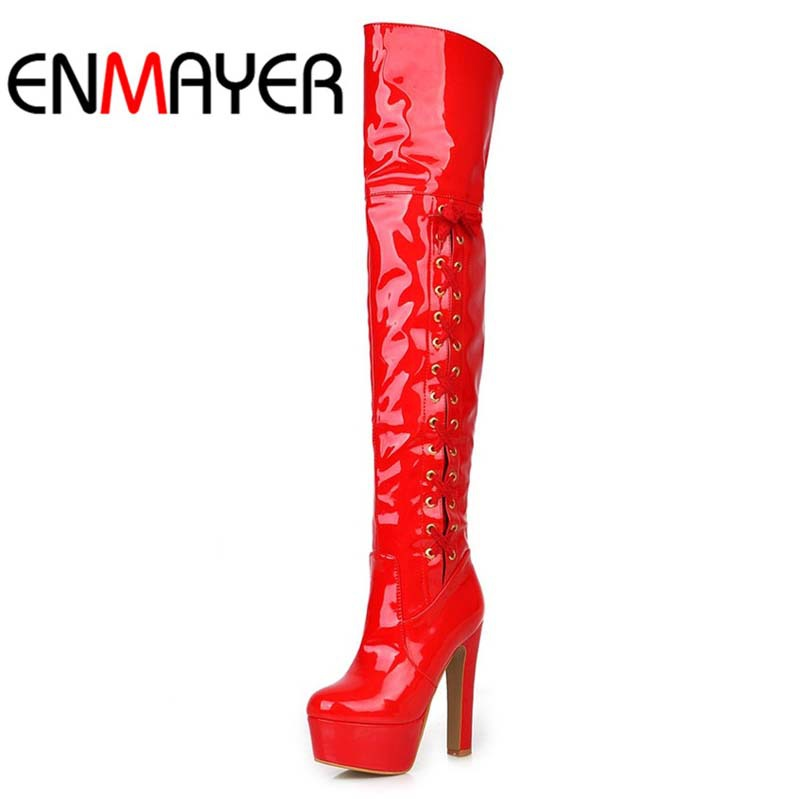 ENMAYER Over-the-Knee boots Square heel High shoes sexy platform pumps new big size long boots Fashion Winter Soft Leather women<br><br>Aliexpress