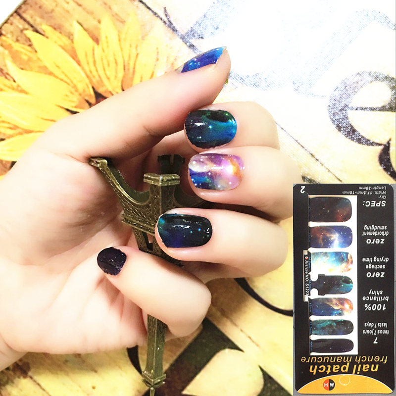 Marvelous Space Universe Nail Arts Nail Sticker Gel Polish French Manicure Patch Full Tape Waterproof Nail Decal Sticker Makeup