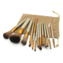 Power NAKED3 makeup brushes 12pcs/set nake 3 Professional make up brush kit eye shadow maquiagem maquillaje with Flannel bag(China (Mainland))
