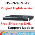 IN Stock free shipping DHL english version DS 7616NI I2 2SATA 16ch NVR supporting third party