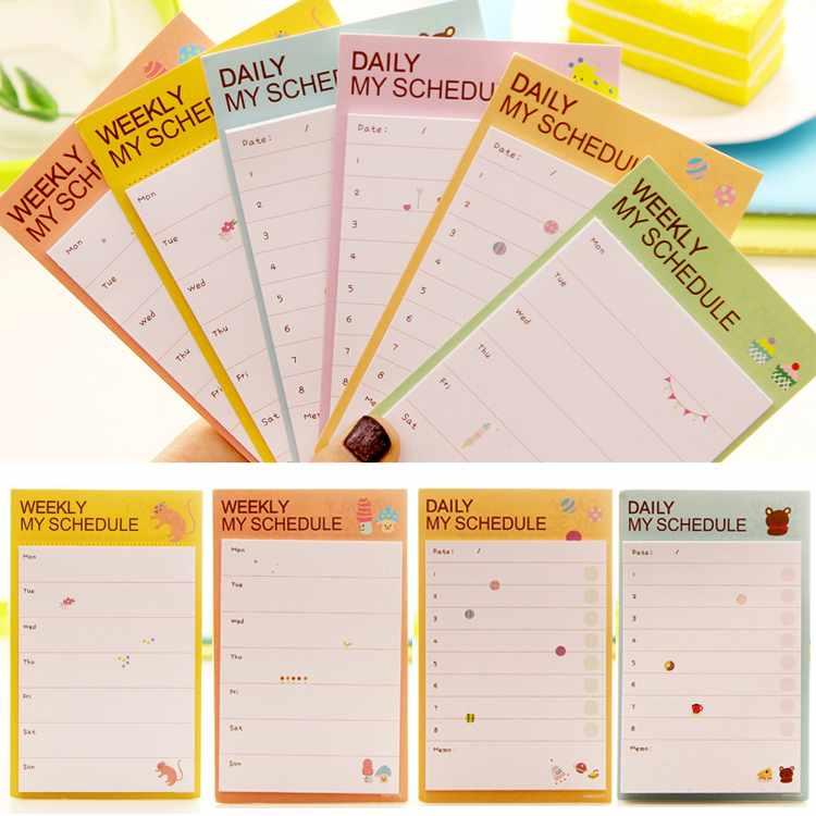 Гаджет  2PCS Schedule Notepad Lovely Daily Plan Schedule Check Stick Post It Bookmark Memo Pad Sticky Notes #S9806 None Офисные и Школьные принадлежности