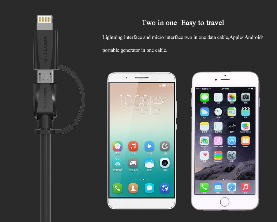 Vention 2 in 1 Lightning to Micro USB Cable Data Charger Cable For iPhone 5s 6 6s iPad For Samsung Xiaomi HTC USB Charger Cable