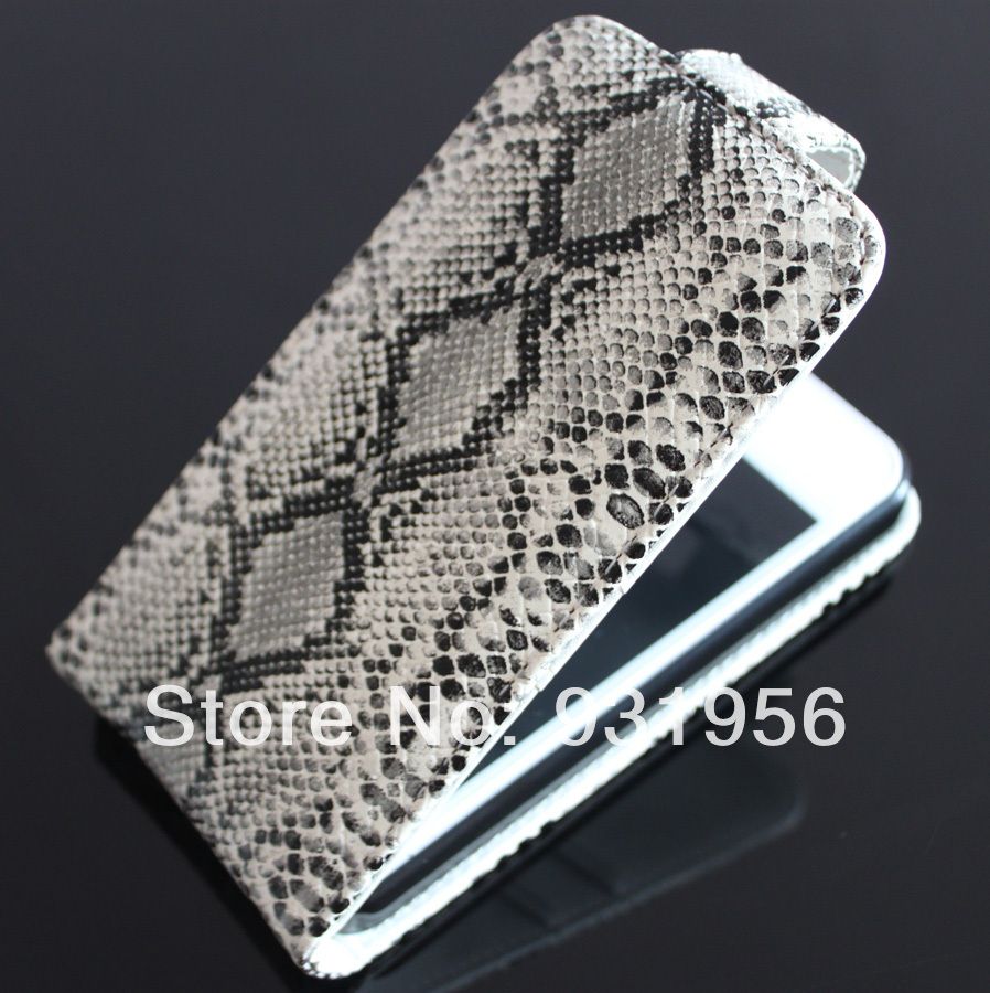 Cool Python Snake Stripes Design Leather Flip Pouch Bag Cover Skin Case For Apple iPhone 4 4G 4S Hotsale + Screen Protector
