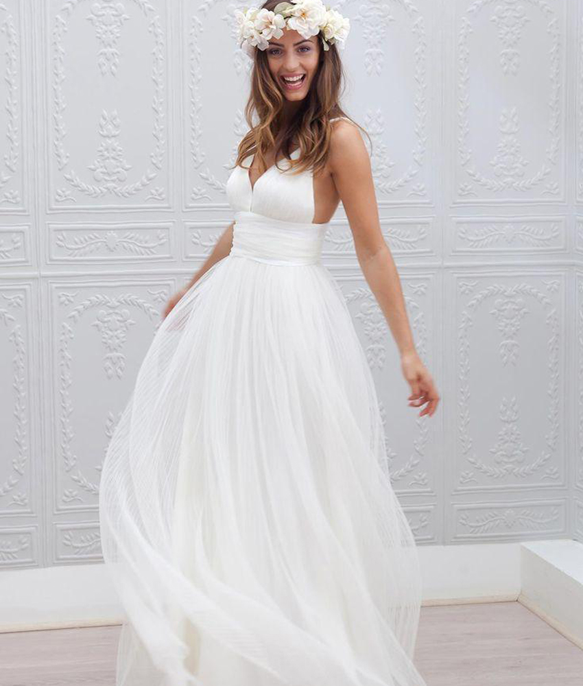 Customize Plus Size Bohemian Beach Wedding Dress Spaghetti Straps Pure White Ruched Tulle 2015