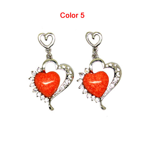 Minimum Order $6 Cheap Jewelry Wholesale 2013 Women New Hot Heart Drop Earring Crystals Wedding E218