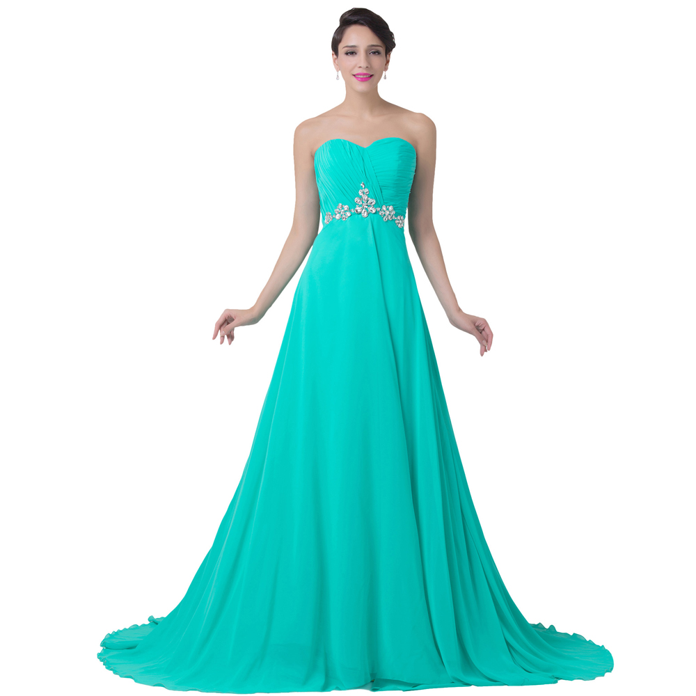Robe cocktail longue bleu turquoise