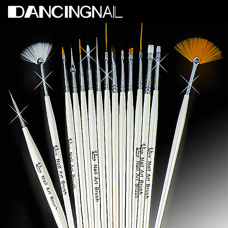 15Pcs Design Painting Pen Professinal Nail Art Brush Set for Natural False 3D Tips Tool Beauty Brand New Free Shipping(China (Mainland))