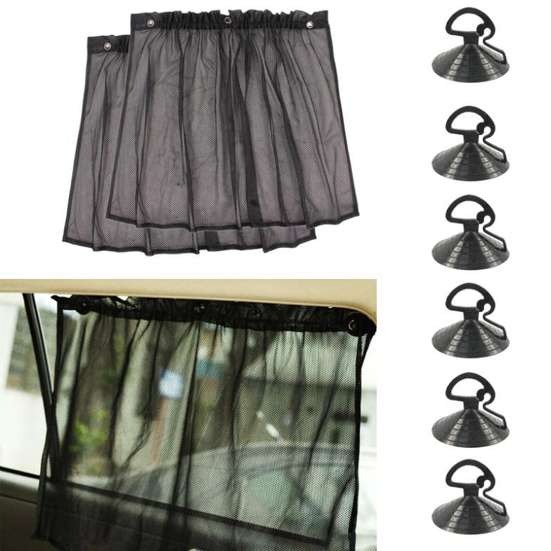 1 Pair Adjustable Car Sun Shade Window Car Window Mesh Interlock Curtain UV Sunshade Visor Accessories for Free Shipping(China (Mainland))