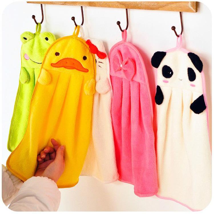 I0000142 Free Shipping Nursery Hand Towel Soft Plush Fabric Cartoon Animal Wipe Hanging Bathing Towel(China (Mainland))