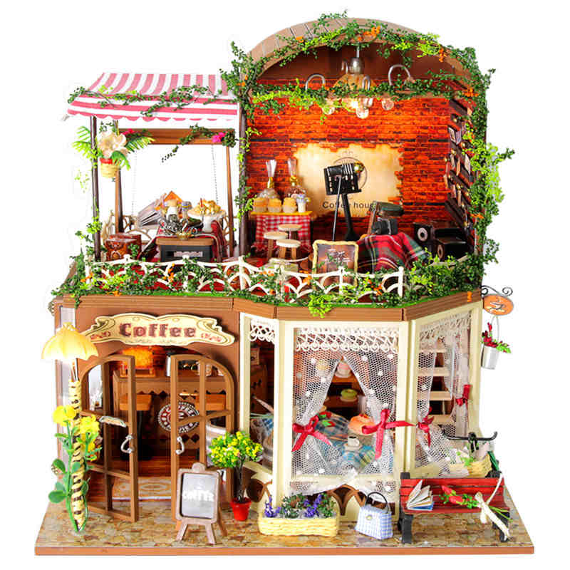 Doll House Villa Model Include Dust Cover Furniture Diy Miniature 3D Puzzle Wooden Dollhouse Creative Birthday Gifts Toys - BOA 's store