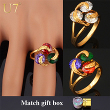 U7 Luxury Zircon Rings New Fashion Jewelry Wholesale Trendy 18K Real Gold Plated Clear AAA Zirconia Rings For Women R313(China (Mainland))