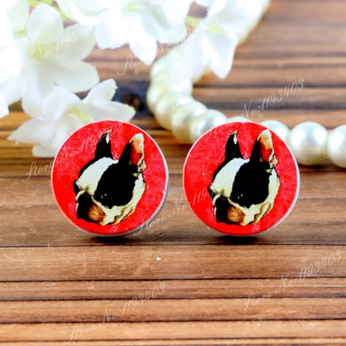 16mm Dog Round High Quality Photo Wood Laser Cut Cabochon to make Rings, Earrings, Bobby pin,Necklaces, Bracelets(China (Mainland))